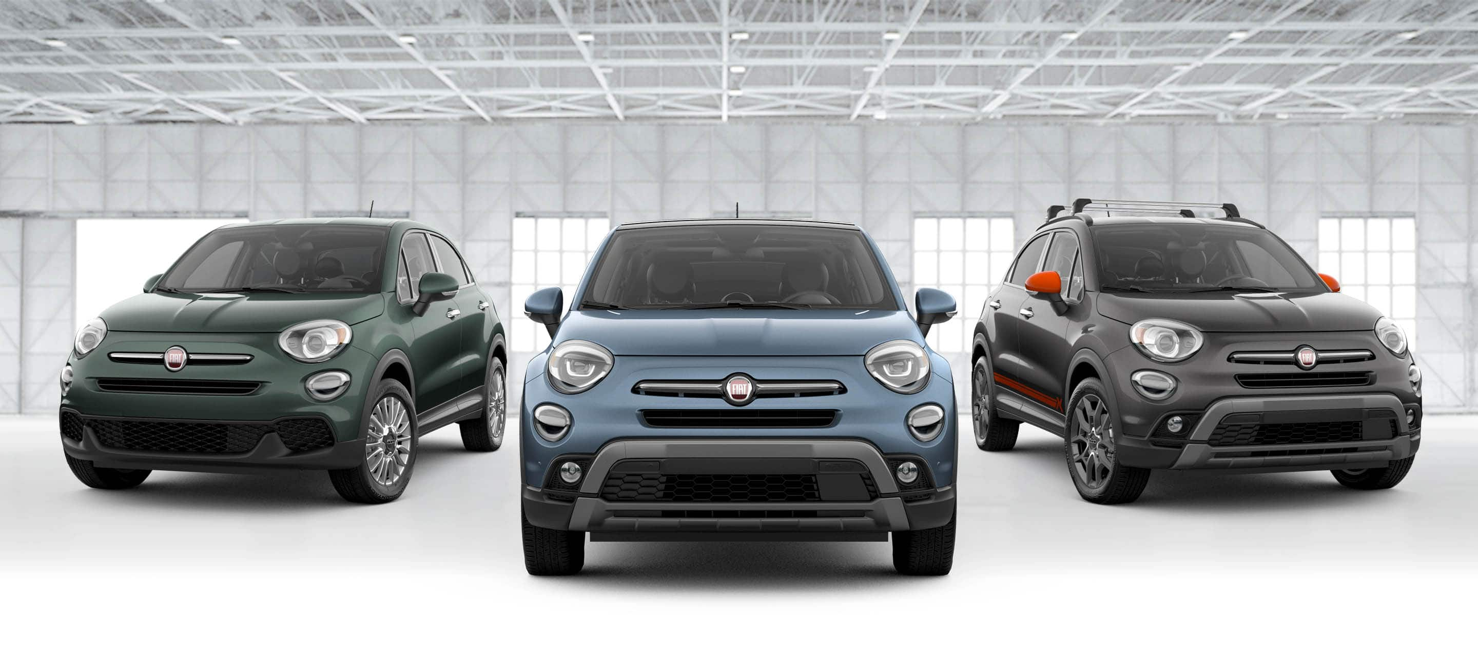 A head-on view of the 2021 FIAT 500X Trekking, Pop and Adventurer models.