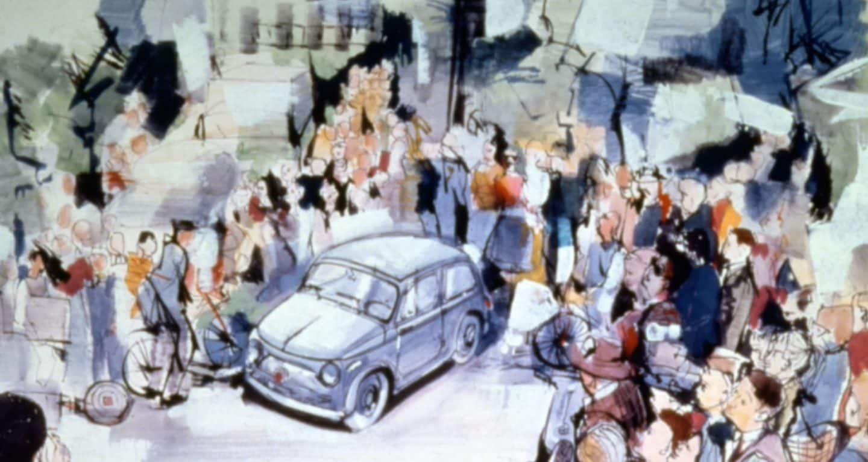 Se muestra el fondo de pantalla n. °1: una pintura estilizada de un vehículo Fiat vintage con un grupo de personas que lo rodean.